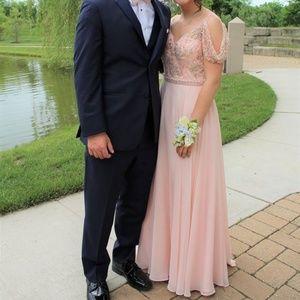blush beaded floor length prom homecoming dress